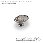 "Regency - 1-9/16"" Floral Oval Cabinet Knob - Bright Nickle Brushed with a Dull Lacquer"