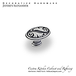 "Regency - 1-9/16"" Floral Oval Cabinet Knob - Swedish Iron Machined"