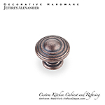 "Bremen - 1-1/4""  Diameter Ring Cabinet Knob - Dark Machined Antique Copper"