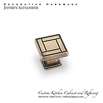 "Rochester -  1-1/8"" Zinc Die Cast Arts & Crafts Cabinet Knob - Antique Brushed Satin Brass"