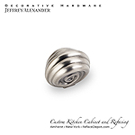 "Lille - 1-3/8"" Zinc Die Cast Palm Leaf Cabinet Knob -  Bright Nickel Burnished with a Dull Lacque"