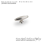 "Glenmore - 2-5/8"" Ribbed Cabinet Knob - Bright Nickel Machined with a Dull Lacquer"