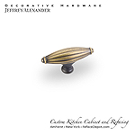 "Glenmore - 2-15/16"" Ribbed Cabinet Knob - Antique Brushed Satin Brass"