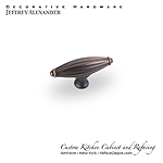 "Glenmore - 2-15/16"" Ribbed Cabinet Knob - Dark Brushed Antique Copper"